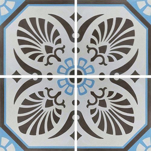 Carreau de ciment décoré gris bleu 20x20 cm ref7690-2 -   - Echantillon - zoom