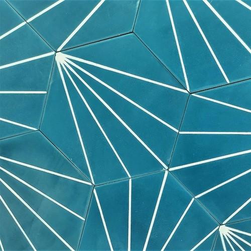 Carreau ciment en tomette dandelion 20x17cm - Ref.8500-10 - 0.307m² - Echantillon - zoom
