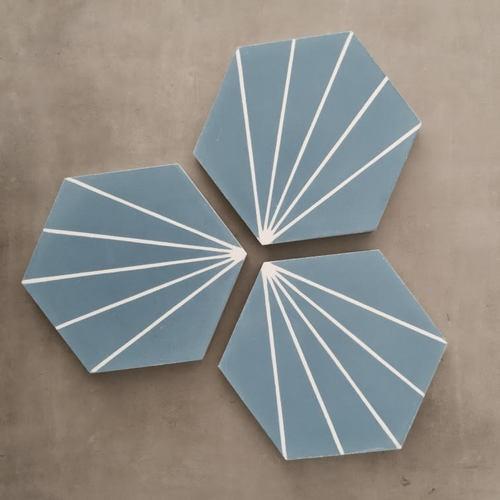 Carreau ciment en tomette dandelion 20x17cm - Ref.8500-12 - 0.307m² - Echantillon - zoom