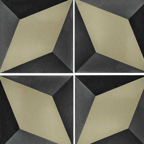 Carreau de ciment décor étoile noire et kaki 20x20 cm ref7390-1 -   - Echantillon Carreaux ciment véritables