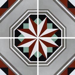 Carreau de ciment décor étoile noire anthracite 20x20 cm ref7050-1 -   - Echantillon Carreaux ciment véritables