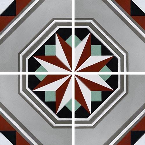 Carreau de ciment décor étoile noire anthracite 20x20 cm ref7050-1 -   - Echantillon - zoom