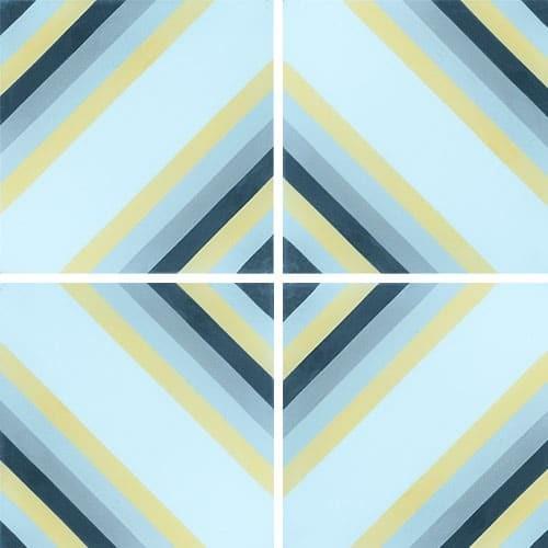 Carreau de ciment effet rayé bleu, jaune 20x20 cm ref7130-1 -   - Echantillon Carreaux ciment véritables