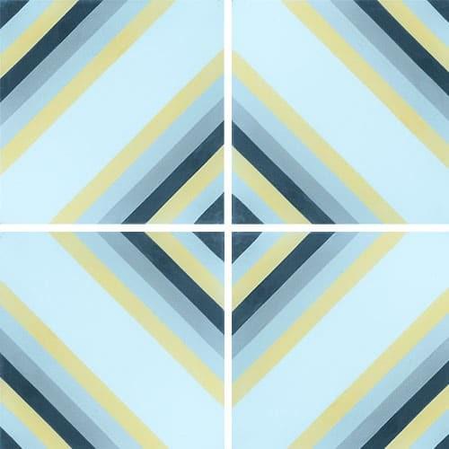 Carreau de ciment effet rayé bleu, jaune 20x20 cm ref7130-1 -   - Echantillon - zoom