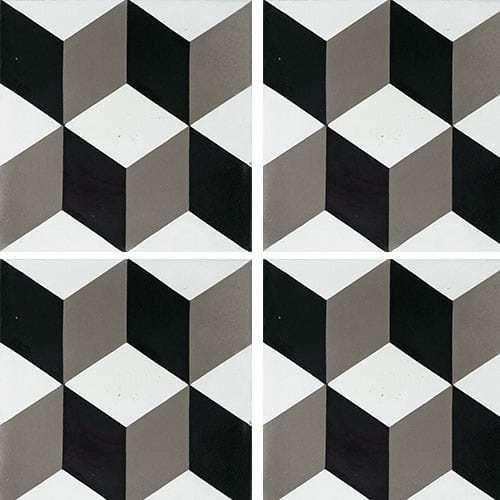 Carreau de ciment CUBE noir et blanc géométrique 20x20 cm ref7290-3 -   - Echantillon Carreaux ciment véritables