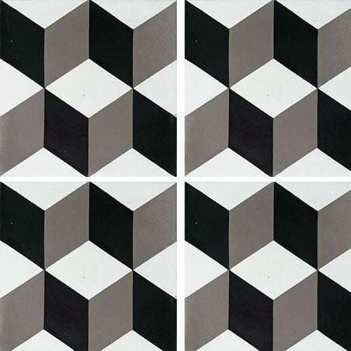 Carreau de ciment CUBE noir et blanc géométrique 20x20 cm ref7290-3 -   - Echantillon - zoom