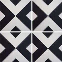 Carreau de ciment géométrique blanc et noir 20x20 cm ref RENEV -   - Echantillon Carreaux ciment véritables