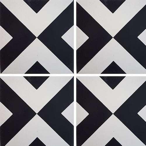 Carreau de ciment géométrique blanc et noir 20x20 cm ref RENEV -   - Echantillon - zoom
