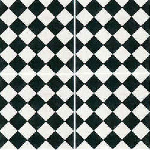 Carreau de ciment damier noir et blanc 20x20 cm ref450-1 -   - Echantillon Carreaux ciment véritables