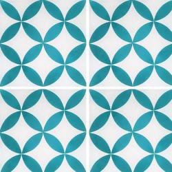 Carreau de ciment véritable Quatre-feuilles bleu turquoise 20x20 cm ref7180-6 -   - Echantillon Carreaux ciment véritables