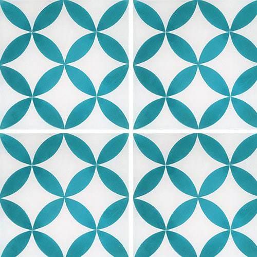 Carreau de ciment véritable Quatre-feuilles bleu turquoise 20x20 cm ref7180-6 -   - Echantillon - zoom