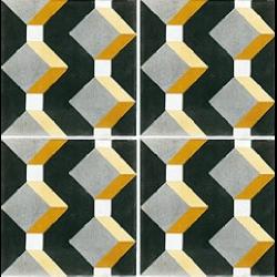 Carreau de ciment cube jaune gris noir géométrique 20x20 cm ref1170-1 -   - Echantillon Carreaux ciment véritables