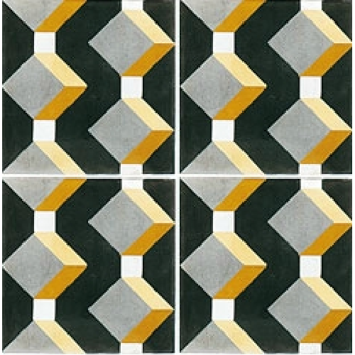 Carreau de ciment cube jaune gris noir géométrique 20x20 cm ref1170-1 -   - Echantillon - zoom