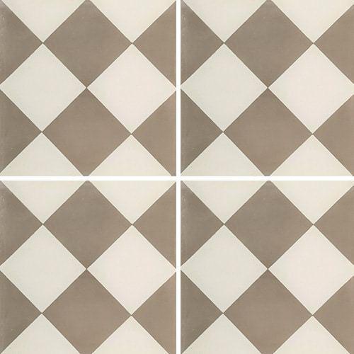 Carreau de ciment damier gris et blanc 20x20 cm ref310-1 -   - Echantillon Carreaux ciment véritables