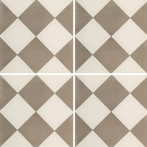 Carreau de ciment damier gris et blanc 20x20 cm ref310-1 -   - Echantillon - zoom
