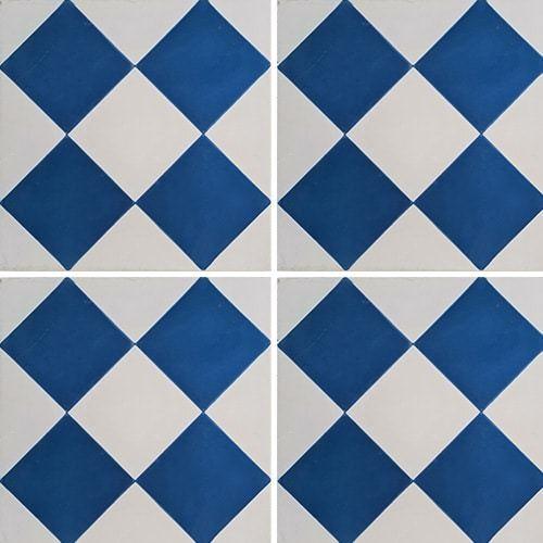 Carreau de ciment damier bleu foncé et blanc 20x20 cm ref380-2 -   - Echantillon Carreaux ciment véritables