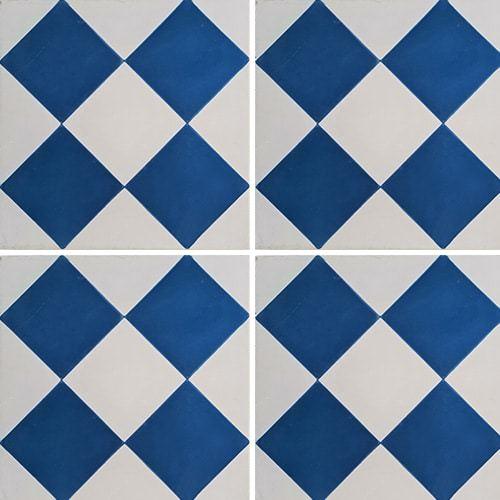 Carreau de ciment damier bleu foncé et blanc 20x20 cm ref380-2 -   - Echantillon - zoom