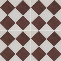 Carreau de ciment damier marron et blanc 20x20 cm ref360-1 -   - Echantillon Carreaux ciment véritables