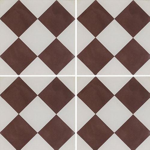 Carreau de ciment damier marron et blanc 20x20 cm ref360-1 -   - Echantillon - zoom