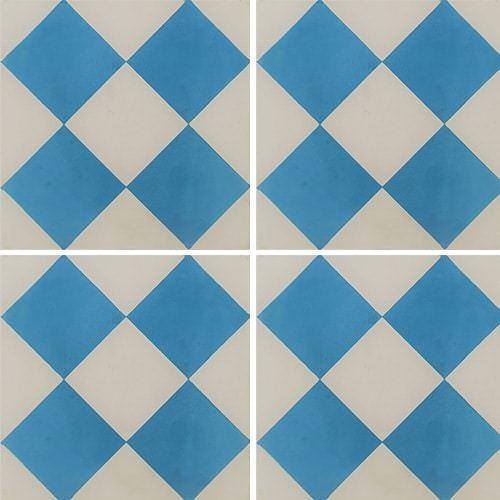 Carreau de ciment damier bleu et blanc 20x20 cm ref380-1 -   - Echantillon Carreaux ciment véritables