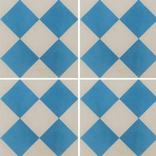 Carreau de ciment damier bleu et blanc 20x20 cm ref380-1 -   - Echantillon - zoom