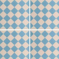 Carreau de ciment damier bleu clair et blanc 20x20 cm ref460-1 -   - Echantillon Carreaux ciment véritables