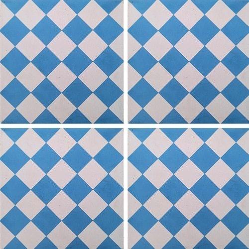 Carreau de ciment damier bleu et blanc 20x20 cm ref460-2 -   - Echantillon Carreaux ciment véritables