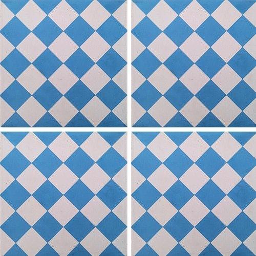 Carreau de ciment damier bleu et blanc 20x20 cm ref460-2 -   - Echantillon - zoom
