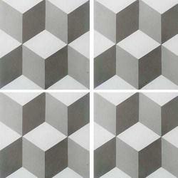 Carreau de ciment CUBE gris et blanc géométrique 20x20 cm ref7290-2 -   - Echantillon Carreaux ciment véritables