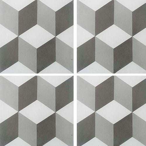 Carreau de ciment CUBE gris et blanc géométrique 20x20 cm ref7290-2 -   - Echantillon - zoom
