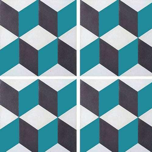 Carreau de ciment CUBE noir, bleu canard, blanc géométrique 20x20 cm ref7290-4 -   - Echantillon Carreaux ciment véritables