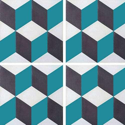Carreau de ciment CUBE noir, bleu canard, blanc géométrique 20x20 cm ref7290-4 -   - Echantillon - zoom