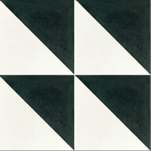 Carreau de ciment triangle noir et blanc 20x20 cm ref350-1 -   - Echantillon Carreaux ciment véritables