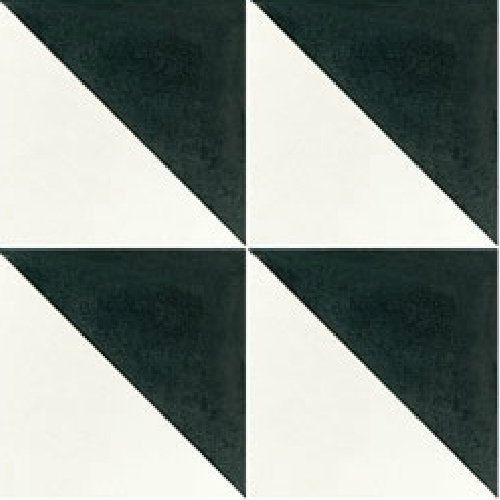 Carreau de ciment triangle noir et blanc 20x20 cm ref350-1 -   - Echantillon - zoom