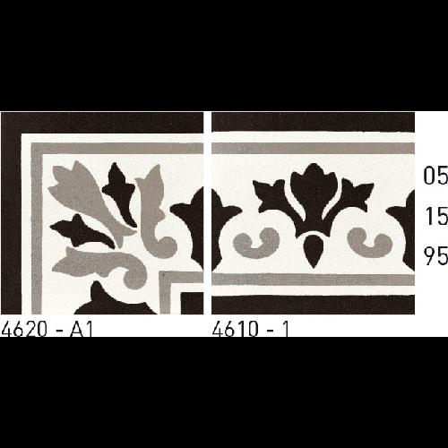 Carreau de ciment frise noir gris blanc 20x20 cm ref4610-1 -   - Echantillon - zoom