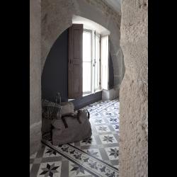Carreau de ciment frise noir gris blanc 20x20 cm ref4610-1 -   - Echantillon Carreaux ciment véritables