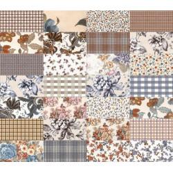 Carrelage faience motif floral style ancien 10x20cm SOULT MUTICOLOR -   - Echantillon Vives Azulejos y Gres