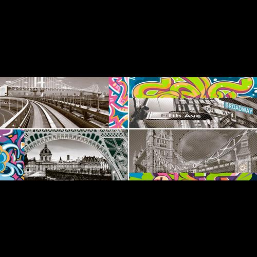 Faience murale enfant style graffiti ZOCLO BLOQUE 20x50cm -Echantillon - zoom