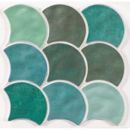 Carreau écaille vert 30x30 SCALE GARDEN -    - Echantillon Realonda