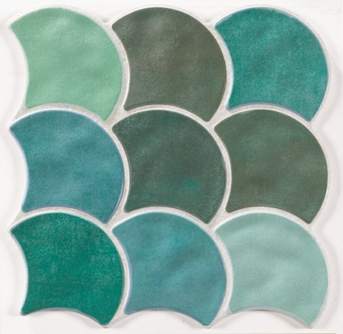 Carreau écaille vert 30x30 SCALE GARDEN -    - Echantillon - zoom