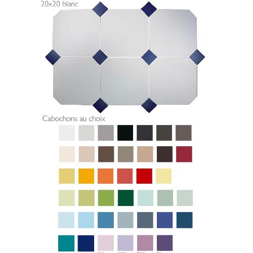 Carrelage 20x20 blanc octogone avec cabochons CERAME MAT -  - Echantillon CE.SI