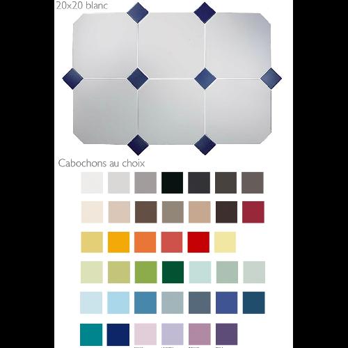 Carrelage 20x20 blanc octogone avec cabochons CERAME MAT -  - Echantillon - zoom