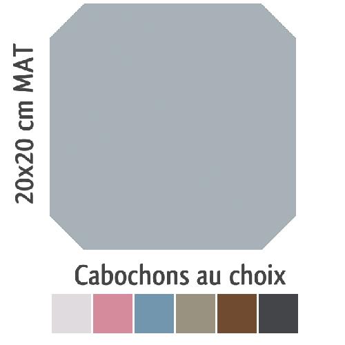 Carrelage octogonal 20x20 gris mat et cabochons CABARET GRIS HUMO -   - Echantillon - zoom