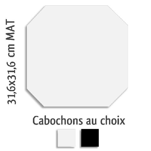 Carrelage octogonal rectifié 31.6x31.6 blanc mat et cabochons MONOCOLOR ALASKA -   - Echantillon - zoom