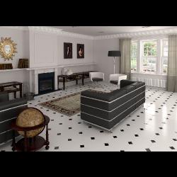 Carrelage octogonal rectifié 31.6x31.6 blanc mat et cabochons MONOCOLOR ALASKA -   - Echantillon Vives Azulejos y Gres