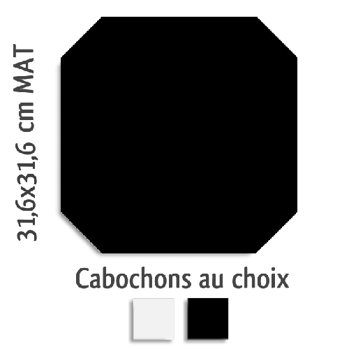 Carrelage octogonal rectifié 31.6x31.6 noir mat et cabochons MONOCOLOR NEGRO -   - Echantillon - zoom
