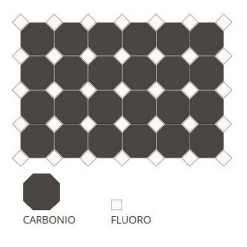 Carrelage 10x10 mat octogone noir Carbonio à cabochons -   - Echantillon CE.SI