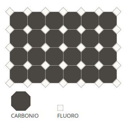 Carrelage 10x10 mat octogone noir Carbonio à cabochons -   - Echantillon - zoom