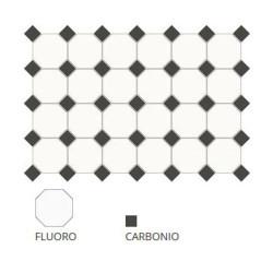 Carrelage 10x10 mat octogone blanc Fluoro avec cabochons -   - Echantillon CE.SI