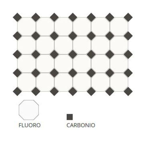 Carrelage 10x10 mat octogone blanc Fluoro avec cabochons -   - Echantillon - zoom